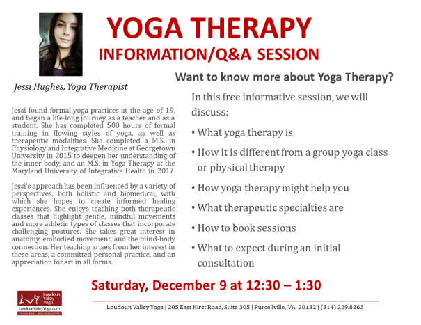 Yoga Therapy Info Session 9Dec2017